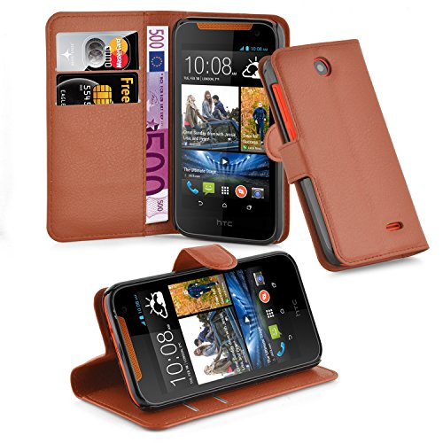 Preisvergleich Produktbild Cadorabo Hülle für HTC Desire 310 - Hülle in Schoko BRAUN Handyhülle mit Kartenfach und Standfunktion - Case Cover Schutzhülle Etui Tasche Book Klapp Style