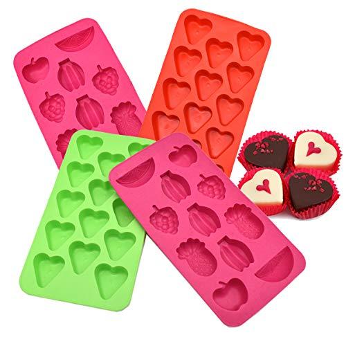 Liwein 4 Pack Moldes de Silicona Forma de Corazón,Bandeja para Cubitos de Hielo Moldes de Chocolate de Dulces para Hacer Caramelos Gelatina Galletas Hornear DIY