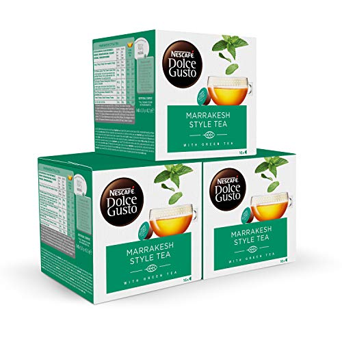 Nescafe DOLCE GUSTO te MARRAKESH Style Tea, Pack de 3 x 16 Capsulas - Total: 48 Capsulas de te