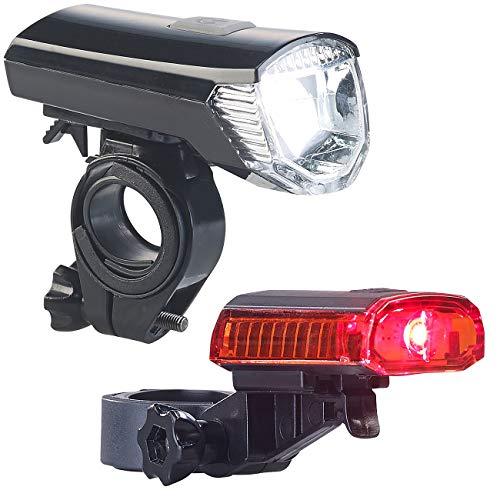 PEARL Velolicht: Akku-Fahrradlichter mit Cree-LED & Halterungen, USB, IPX4, im Set (Fahrradlampen)