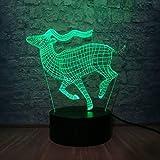 Antílope Vintage 3D LED luz de noche 7 colores cambiantes mesita de noche modelo Animal niños regalo juguetes fiesta en casa ción