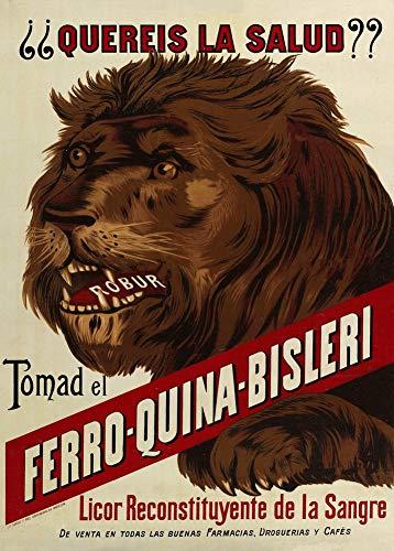 Vintage bieren, wijnen en sterke drank 'Ferro-Quina-Bisleri', Spanje, jaren 50, 250gsm Zacht-Satijn Laagglans Reproductie A3 Poster