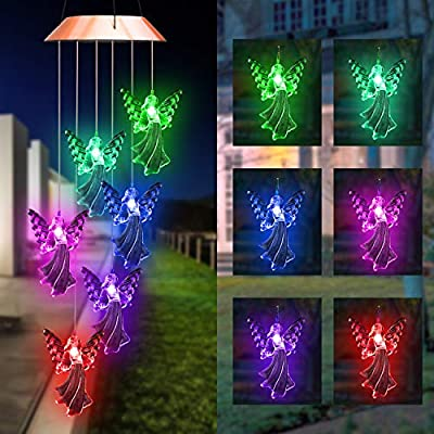 Lampelc Solar Mobile Wind Chime Moblie LED Light, Solar Angel Wind Chimes Portable Multi Color-Changing Outdoor Chime Patio Deck Yard Garden Home
