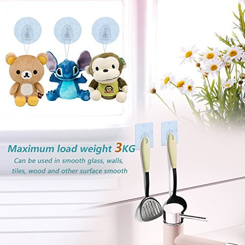 Wall Hooks, Onete Damage Free Hanging Nail Free waterproof Transparent Reusable Heavy Duty for Bathroom Kitchen Wall hook(6 packs)