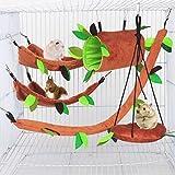 Hamster Hamaca para animales pequeños en la selva, cama cálida, casa jaula, nido, accesorios, diseño de bosque, jaula, juguetes, hojas, túnel y columpio para Sugar Glider Ardilla Juegos (5 unidades)