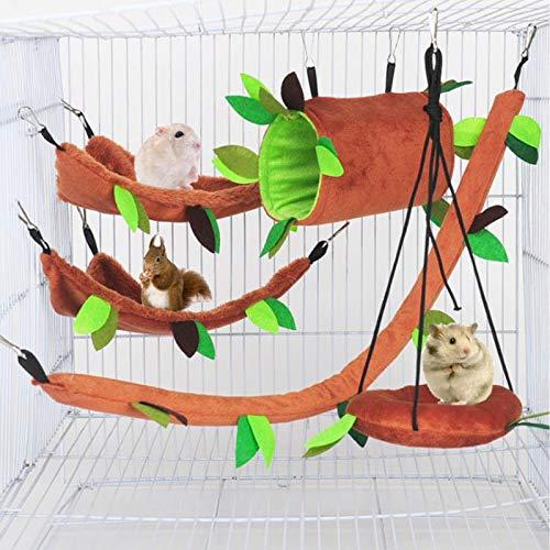 Hamster Hängematte Kleintiere Dschungel hängen warmes Bett Haus Käfig Nest Zubehör Waldmuster Käfig Spielzeug Blatt hängen Tunnel und Schaukel für Sugar Glider Eichhörnchen Hamster Spielen (5 Stück)