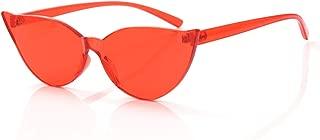 Cat Eye Rimless Sunglasses Oversized One Piece Colored Transparent Eyewear Retro Eyeglasses for Women Men