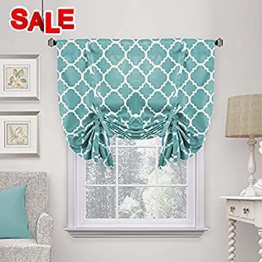 H.VERSAILTEX Rod Pocket Blackout Curtain Tie Up Shade Window Panels for Living Room/Bedroom Printed Teal Pattern 42W x 63 One Panel