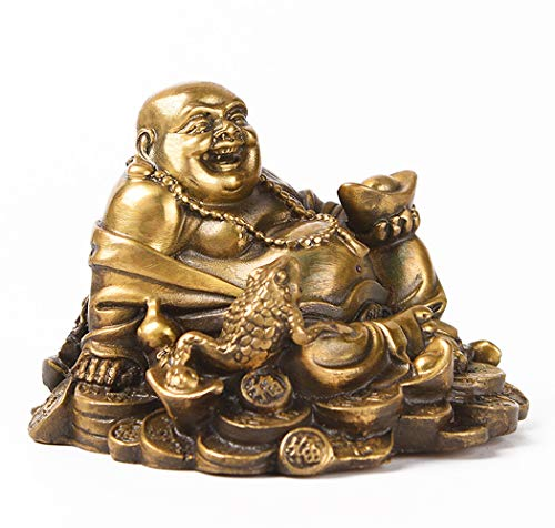 Brass Sitting Laughing Buddha with Money Frog Protect House Peace Wealth Decoration TQ163