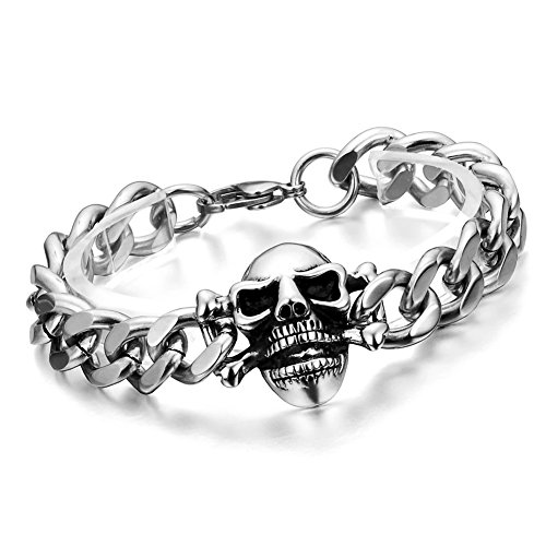Cupimatch Herren Damen Buddha Mala Totenkopf Armband, Schädel Kugelkette Gebet Stretch Energiearmband Armschmuck Perlenarmband, schwarz Silber (Silber)