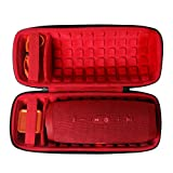 co2CREA Hard Travel Case for JBL Charge 4 / JBL Charge 5 Waterproof Bluetooth Speaker (Outside Black and Inside Red)