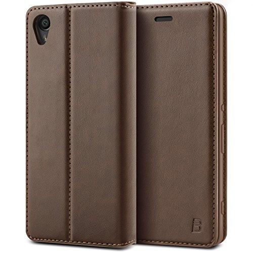 BEZ Hülle für Sony Xperia XA Hülle, Handyhülle Kompatibel für Sony Xperia XA Tasche, Case Schutzhüllen aus Klappetui mit Kreditkartenhaltern, Ständer, Magnetverschluss - Braun