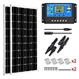 SUNGOLDPOWER 200 Watt 12V Monocrystalline Solar Panel Module Kit:2pcs 100W Mono Solar Panel Solar Cell Grade A +20A LCD PWM Charge Controller Solar+MC4 Extension Cables+2 Sets of Z-Bracket