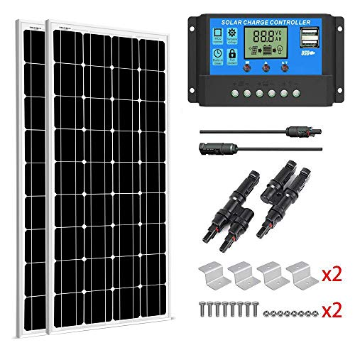 SUNGOLDPOWER 200 Watt 12V Monocrystalline Solar Panel Module Kit:2pcs 100W Mono Solar Panel Solar Cell Grade A +20A LCD PWM Charge Controller Solar+MC4 Extension Cables+2 Sets of Z-Bracket