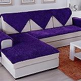 SVIO-SOFACOVER Plush Chenille Sofa Slipcover Purple Couch Cover Anti-Slip Furniture Protector Winter Warm Sofa Cover,35'x71'