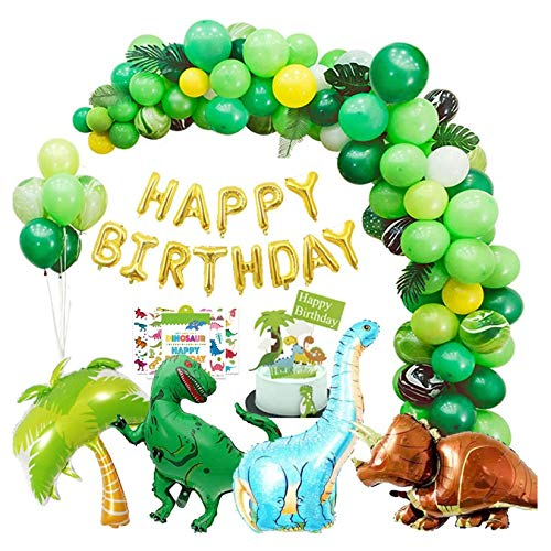Dinosaur Birthday Party Decorations 214 pcs Happy Birthday Banner Garland & Arch Kit Dino Party Supplies Dinosaur Party Balloons