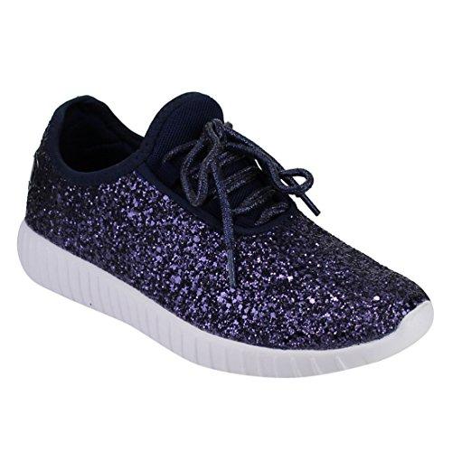 Forever Link Remy-18 Glitzer-Sneakers, modische Sneakers, glitzernde Schuhe für Frauen, marineblau, Größe 44