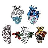 XCSM 5 Piezas de Halloween Esmalte Pin Set Skull Ghost Broches Anatomía Corazón Pins Punk Broche Joyería para Mujeres...