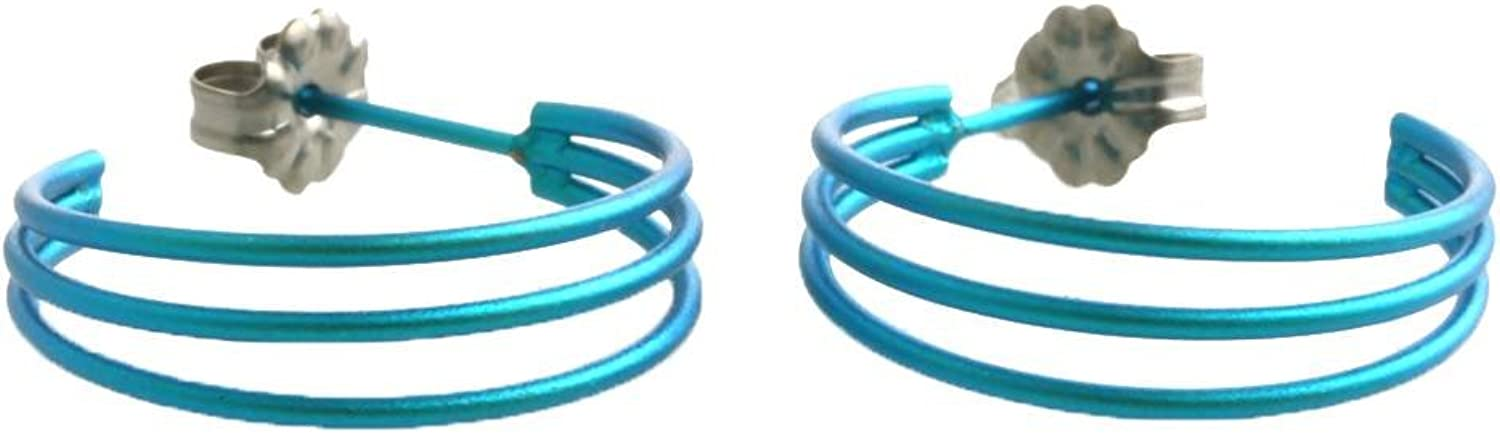 Ti2 Titanium Womens Three Strand Hoop Earrings  Kingfisher bluee