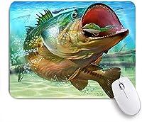 VAMIX マウスパッド 個性的 おしゃれ 柔軟 かわいい ゴム製裏面 ゲーミングマウスパッド PC ノートパソコン オフィス用 デスクマット 滑り止め 耐久性が良い おもしろいパターン (農家の釣りスタイル海底の動物の絵画低音の魚餌をキャッチ)