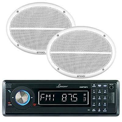 Lanzar AQMP70BTB Single DIN In Dash Bluetooth AUX USB MMC SD MP3 Boat Receiver, Lanzar AQ69CXS 6x9 Marine Water Resistant 2 Way 500 Watt Silver Speakers