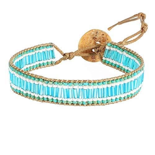 KANYEE Pulseras de la amistad Pulsera de cuentas naturales hecha a mano de piel tejida a mano, pulsera bohemia para mujer unisex azul