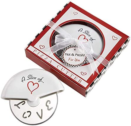 Kate Aspen A Slice of Love Stainless Steel Pizza Cutter in Miniature Pizza Box Perfect Wedding product image