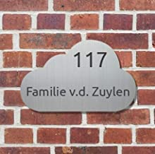 Naambordje RVS-look | Alu-Line Wolk 23x14,5CM, huisnummer, naambordje deur, naambord, naambord huis, naambordje voordeur, ...