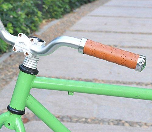 UPANBIKE Fahrrad Griffe Ergonomisches Design Fahrrad Ledergriffe Passend für 22,2 mm Lenkergriffe(EIN Paar,Khaki) - 6