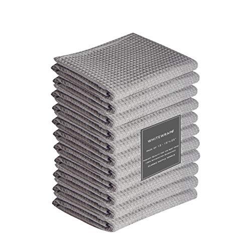 "WHITEWRAP Kitchen Dish Towels   12-Pack Ring Spun Cotton Classic Waffle   15""x25""   Kitchen Towels Grey   Kitchen Towel, Hand Towels, Tea Towels, Dish Towel, Dish Cloths"