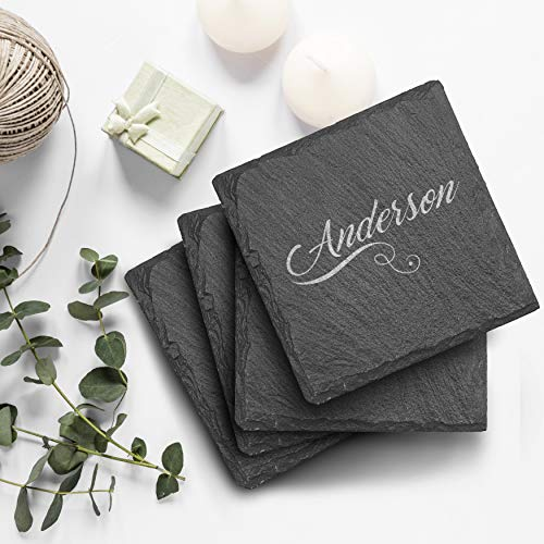Customized Engraved Slate Coasters Set Square Customized Slate Colors With Name Personalized Coasters Permanently Laser Engraved Coasters For Gift