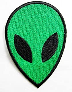 Green Alien Patch Iron on Patch Embroidered Iron on Hat Jacket Hoodie Backpack Ideal for Gift /5.5cm(w) X 7.7cm(h)