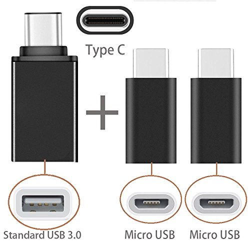 USB Type-C Adapter [3 in 1 Pack] USB C to Micro USB, USB C to USB 3.0 Adapter for Samsung Galaxy S8 S8 Plus S9 Note 8 LG G6 V30, Google Pixel 2 Nexus 5x 6p, Nintendo Switch, MacBook, HTC U11 -By Moona