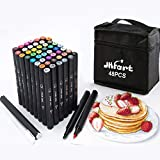 48 Colors Alcohol Brush Markers, Brush & Chisel Dual Tip Artist Sketch Markers, Alcohol Based Brush Art Marker Set w/ 1 Colorless Blender and 1 Highlight Pen