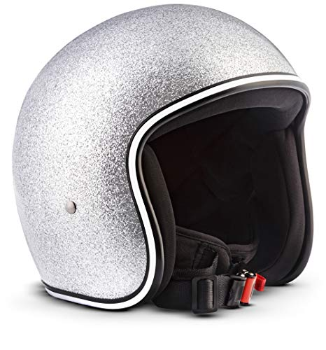 "Rebel · R2 ""Flakes Silver"" (Silber) · Jet-Helm · Mofa Motorrad-Helm Chopper Roller Retro Scooter-Helm · Fiberglass · Extra small Shell · Click-n-Secure™ Clip · Tragetasche · M (57-58cm)"
