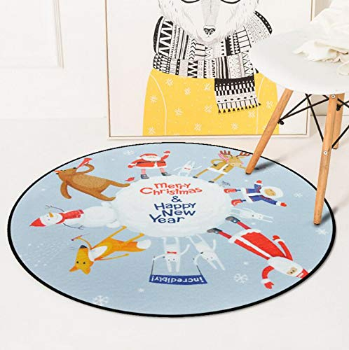 CCMOO Vrolijke Kerstmis Mat Kerstman Ronde Tapijten Decor voor Thuis Xmas Party Woonkamer Computer Stoel garderobe tapijt