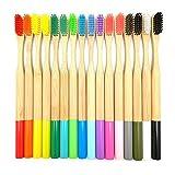 Cepillo de dientes de bambú Cepillo de nylon redondo y multicolor Cepillo de dientes para adultos Cepillo de dientes púrpura respetuoso con el medio ambiente 5