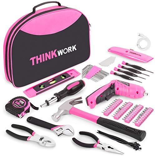 THINKWORK 122-teiliges rosa Lady Werkzeugset mit drehbarem 3,6-V-Elektroschrauber für Frauen, Heimarbeitsset, sehr gut für Geschenke geeignet, perfekt für Heimwerkerarbeiten, tägliche Heimdekoration