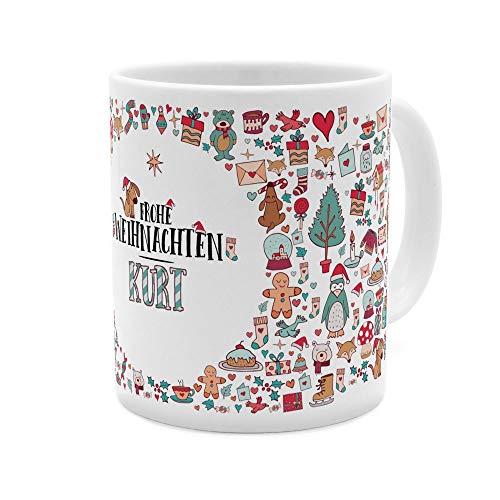 printplanet Tasse mit Namen Kurt - Motiv Frohe Weihnachten - Namenstasse, Kaffeebecher, Mug, Becher, Kaffeetasse - Farbe Weiß
