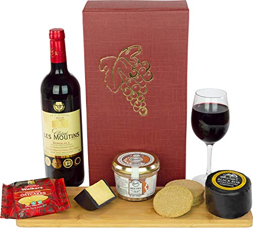 Wine, Cheese and Pate Hamper with a fine Award Winning Les Moutins Bordeaux 75cl, Cheese Truckle, Pate and Oatcakes in a Luxury Bordeaux Gift Box with a Grape Design and Name-a-Rose Gift