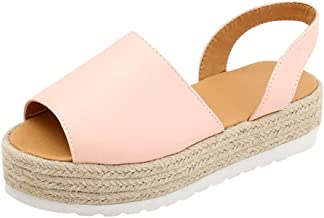 Orangeskycn Women Sandals Ladies Summer Flat Waterproof Platform Woven Thick-Bottom Sandals Roman Shoes