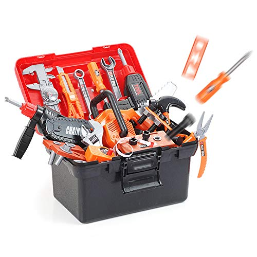 aleawol 43 Pieces Children's Tool Toy Electric Drill Set