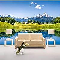 写真壁紙モダンスノーマウンテンメドウレイクサイド壁画壁紙3Dリビングルーム寝室家の装飾壁装材-280X200CM
