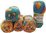 Alize Diva 7074 - Ovillo de lana batik (5 ovillos de 100 g, 500 g), multicolor