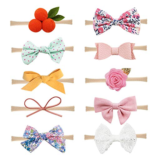 Baby Girl Headbands and Bows Nylon Hairbands Hair Bow Accessories for Newborn Infant Toddler Girls (Bows-A-10PCS)