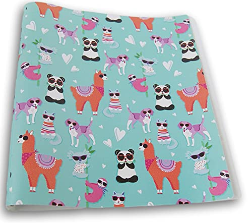 Kids' Colorful Patterned Flexible Poly 3 Ring Binder (Cool Animals in Sunglasses)
