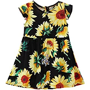 OSYARD Girl's Dress, Kids Child Baby Girls Sunflower Floral Fly Sleeve Sundress Dress Casual Clothes