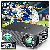 WISELAZER WiFi Bluetooth Proyector Full HD 1080P Nativo,Cine en Casa 9500 Lúmenes Proyector Soporte 4K Función de Zoom para Smartphone,Pc,TV Stick,etc (Black)