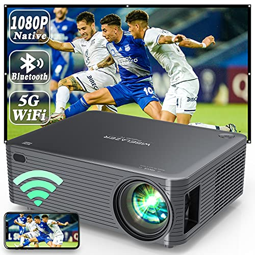 WISELAZER Proyector Full HD 1080P Nativo WiFi Bluetooth,Cine en Casa 9500 Lúmenes Proyector Soporte 4K Función de Zoom para Smartphone,Pc,TV Stick,etc (Black)