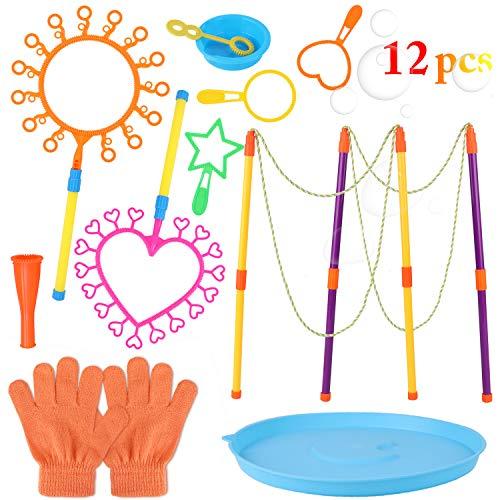 FunPa Seifenblasen Set für Kinder, 12PCS Kids Bubble Wand Set Kreatives Bubble Toy Bubble Wand Sortiment für den Sommer Kindergeburtstag Partei Spielzeug